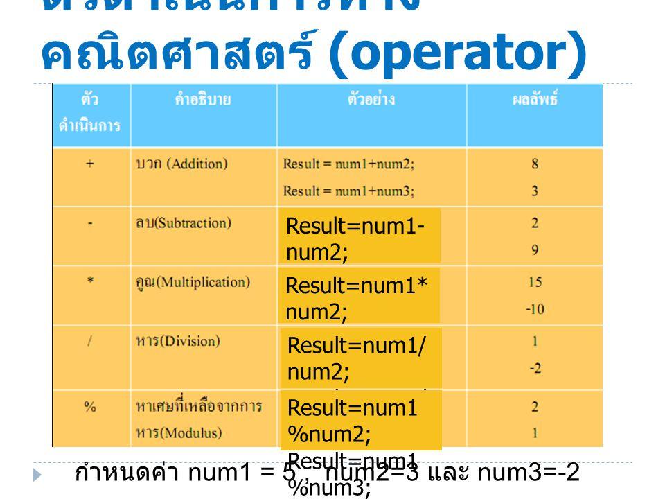 ตัวดำเนินการทาง คณิตศาสตร์ (operator) กำหนดค่า num1 = 5, num2=3 และ num3=-2 Result=num1- num2; Result=num1- num3; Result=num1* num2; Result=num1* num3