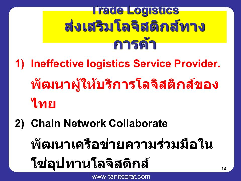 14 1)Ineffective logistics Service Provider.
