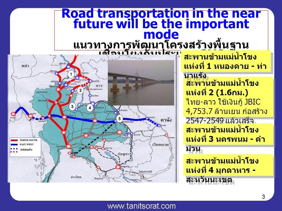 3 Road transportation in the near future will be the important mode แนวทางการพัฒนาโครงสร้างพื้นฐาน เชื่อมโยงกับประเทศ GMS 6 สะพานข้ามแม่น้ำโขง แห่งที่ 2 (1.6 กม.) ไทย - ลาว ใช้เงินกู้ JBIC 4,753.7 ล้านเยน ก่อสร้าง 2547-2549 แล้วเสร็จ ปลายปี 49 สะพานข้ามแม่น้ำโขง แห่งที่ 1 หนองคาย - ท่า นาแร้ง สะพานข้ามแม่น้ำโขง แห่งที่ 3 นครพนม - คำ ม่วน สะพานข้ามแม่น้ำโขง แห่งที่ 4 มุกดาหาร - สะหวันนะเขต