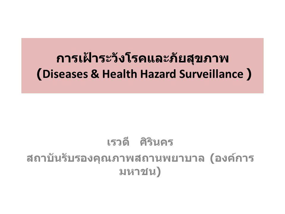 การเฝ้าระวังโรคและภัยสุขภาพ (Diseases & Health Hazard Surveillance ) เรวดี ศิรินคร สถาบันรับรองคุณภาพสถานพยาบาล ( องค์การ มหาชน )