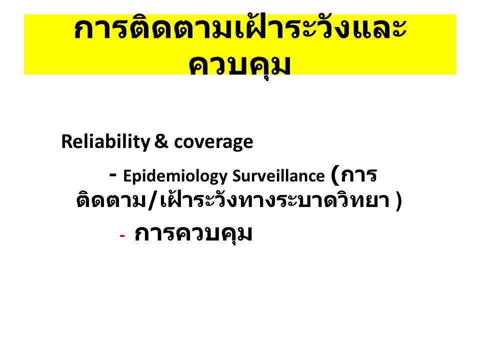 การติดตามเฝ้าระวังและ ควบคุม Reliability & coverage - Epidemiology Surveillance ( การ ติดตาม / เฝ้าระวังทางระบาดวิทยา ) - การควบคุม
