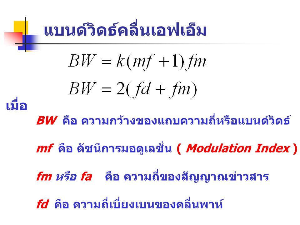 แบนด์วิดธ์คลื่นเอฟเอ็ม เมื่อ BW คือ ความกว้างของแถบความถี่หรือแบนด์วิดธ์ mf คือ ดัชนีการมอดูเลชั่น ( Modulation Index ) fm หรือ fa คือ ความถี่ของสัญญา