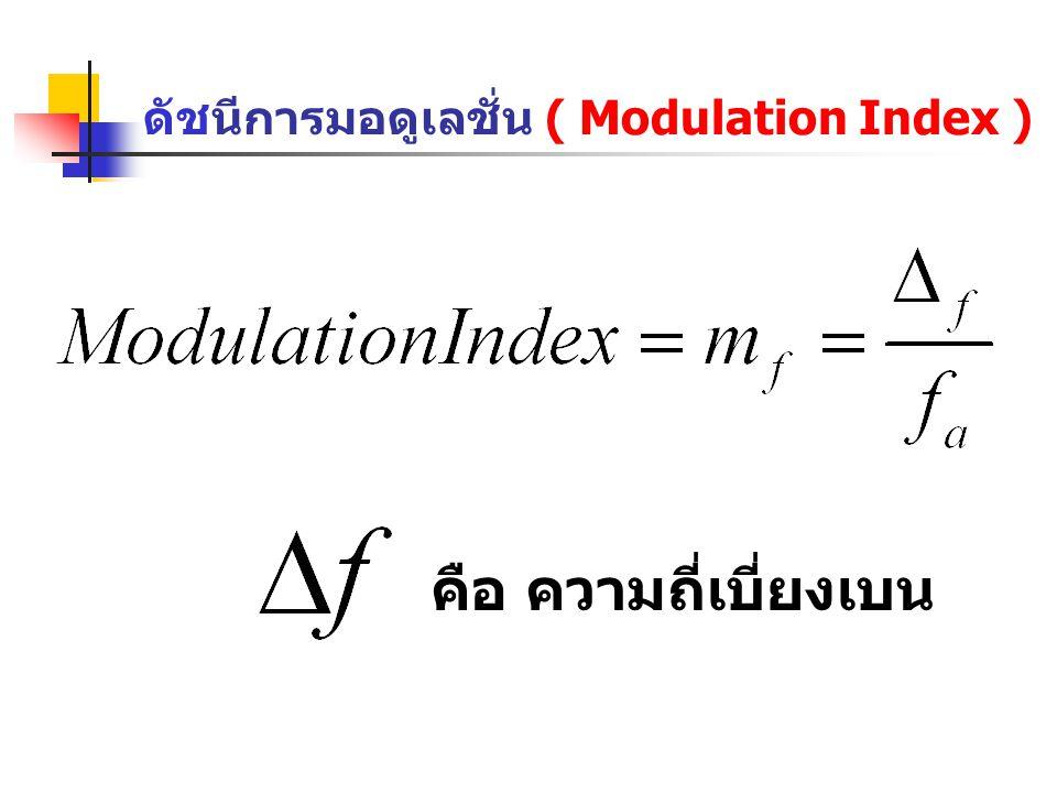 ดัชนีการมอดูเลชั่น ( Modulation Index ) คือ ความถี่เบี่ยงเบน