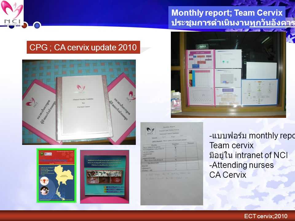 CPG ; CA cervix update 2010 Monthly report; Team Cervix ประชุมการดำเนินงานทุกวันอังคารที่ 2 ของเดือน - แบบฟอร์ม monthly report; Team cervix มีอยู่ใน i