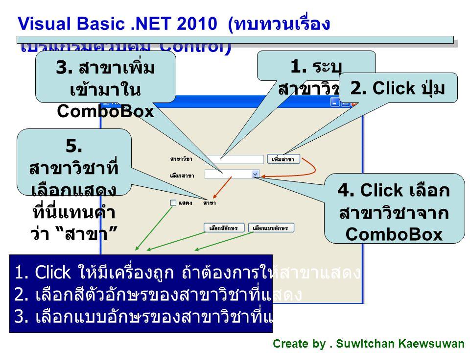 Visual Basic.NET 2010 ( ทบทวนเรื่อง โปรแกรมควบคุม Control) Create by. Suwitchan Kaewsuwan 1. ระบุ สาขาวิชา 2. Click ปุ่ม 3. สาขาเพิ่ม เข้ามาใน ComboBo