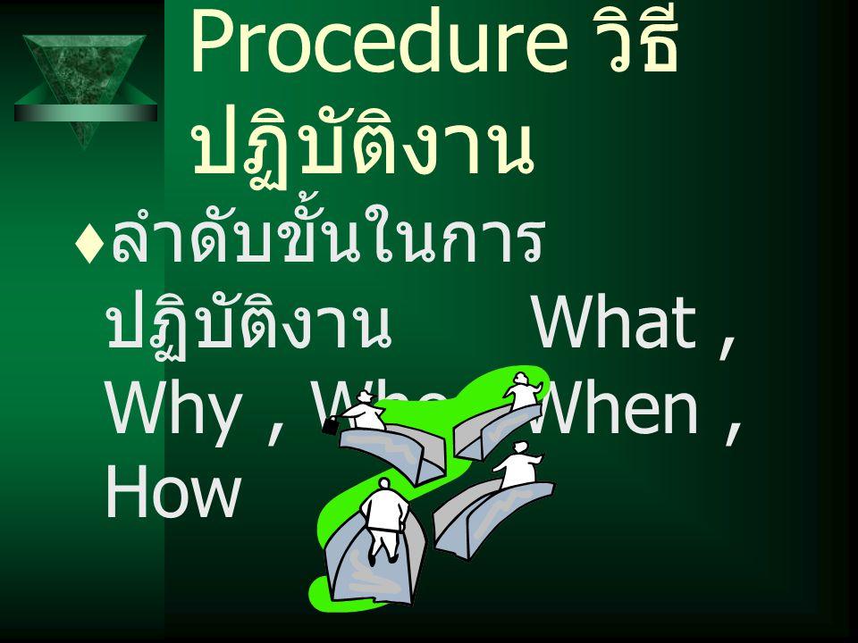 Procedure วิธี ปฏิบัติงาน  ลำดับขั้นในการ ปฏิบัติงาน What, Why, Who, When, How