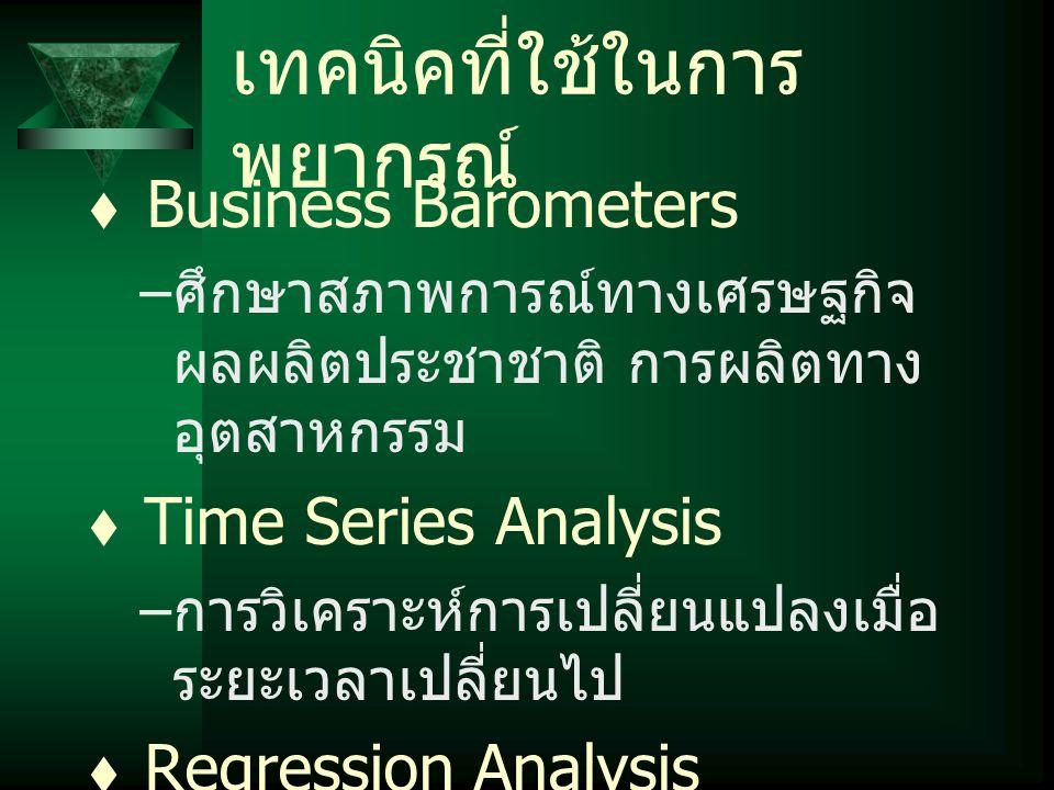 เทคนิคที่ใช้ในการ พยากรณ์  Business Barometers – ศึกษาสภาพการณ์ทางเศรษฐกิจ ผลผลิตประชาชาติ การผลิตทาง อุตสาหกรรม  Time Series Analysis – การวิเคราะห