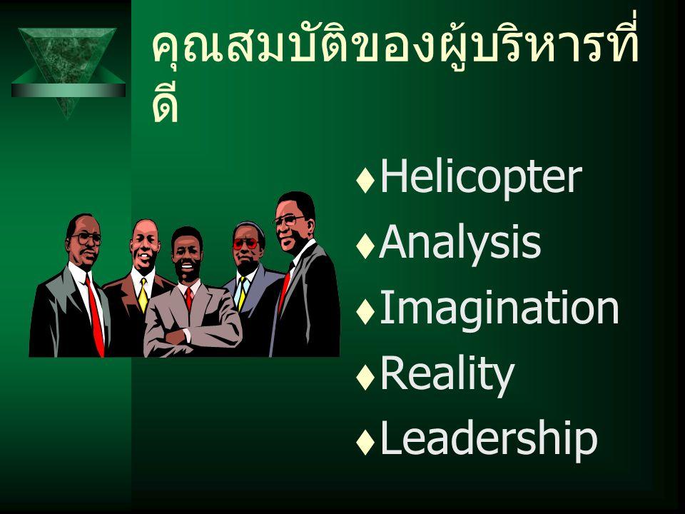 คุณสมบัติของผู้บริหารที่ ดี  Helicopter  Analysis  Imagination  Reality  Leadership