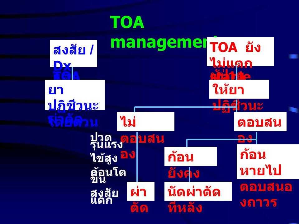TOA management สงสัย / Dx TOA แตก ยา ปฏิชีวนะ ผ่าตัด โดยด่วน TOA ยัง ไม่แตก ผู้ป่วย stable ให้ยา ปฏิชีวนะ ไม่ ตอบสน อง ตอบสน อง ปวด รุนแรง ไข้สูง ก้อนโต ขึ้น สงสัย แตก ผ่า ตัด ก้อน ยังคง อยู่ นัดผ่าตัด ทีหลัง ก้อน หายไป ตอบสนอ งถาวร