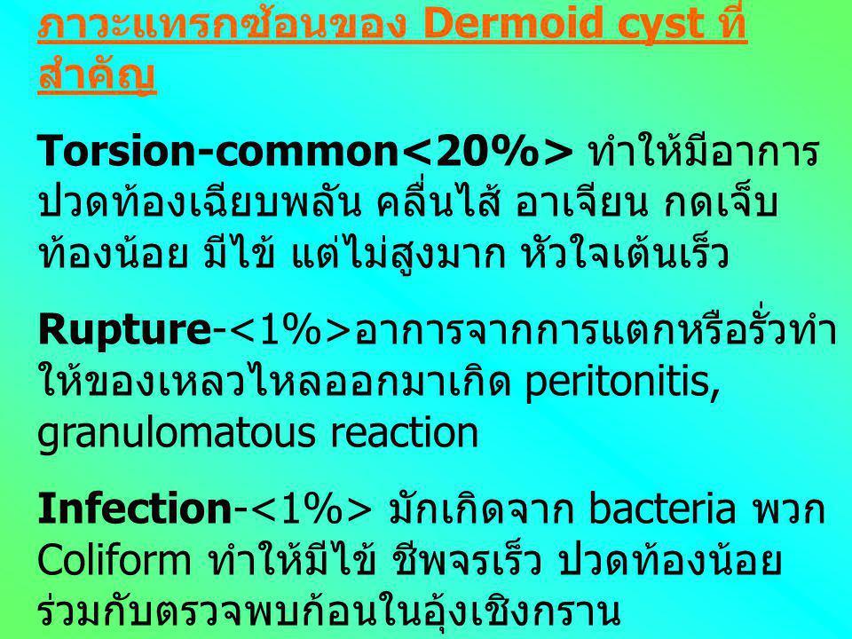 Dermoid cyst อยู่ในกลุ่ม neoplastic ovarian mass ที่เป็น mature cystic teratoma พบประมาณ 10- 15% ของเนื้องอกรังไข่ มักพบในผู้หญิง อายุน้อยกว่า 20 ปี P
