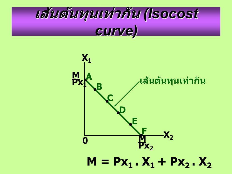 M Px 1 M Px 2 X2X2 X1X1 0 เส้นต้นทุนเท่ากัน (Isocost curve) M = Px 1. X 1 + Px 2. X 2 เส้นต้นทุนเท่ากัน B D A C E F