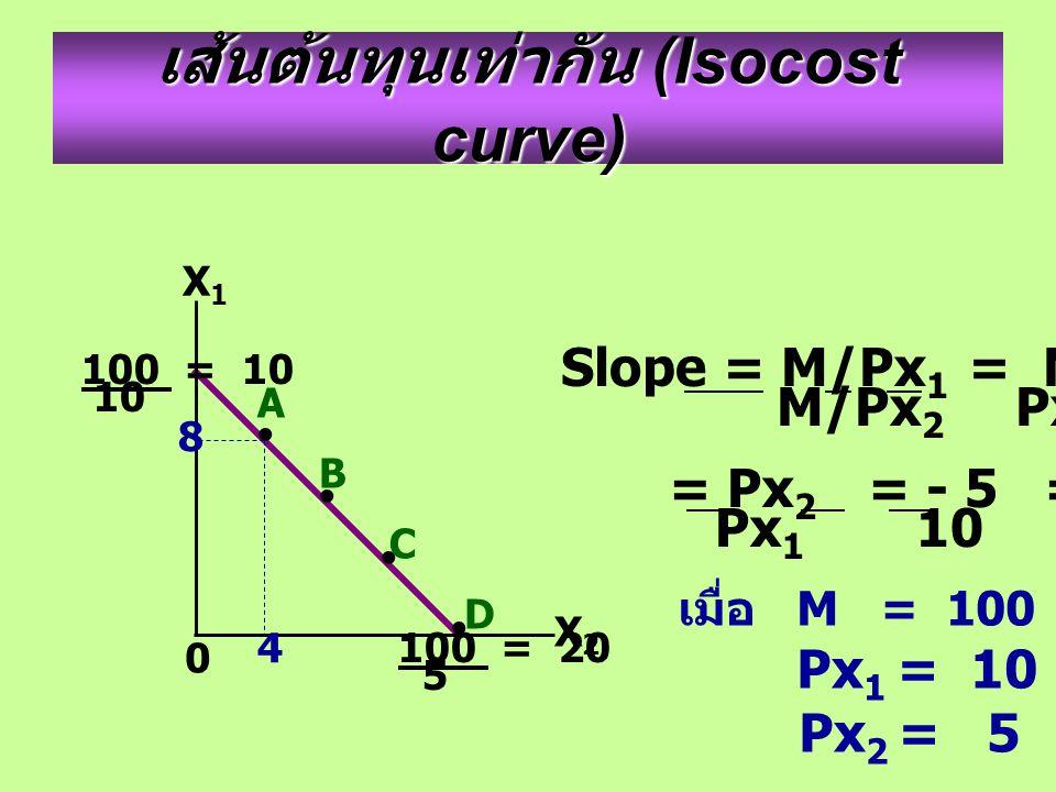 เส้นต้นทุนเท่ากัน (Isocost curve) X2X2 X1X1 0 A B C D 8 4 100 = 10 10 100 = 20 5 Slope = M/Px 1 = M. Px 2 M/Px 2 Px 1 M = Px 2 = - 5 = - 1 Px 1 10 2 เ
