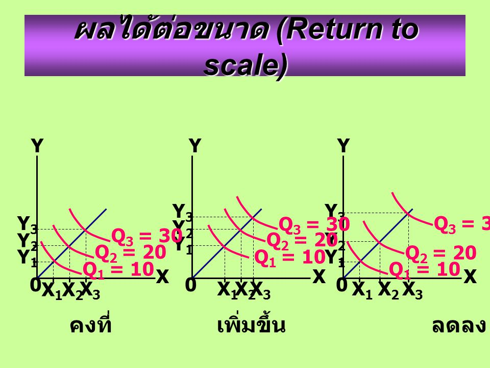 ผลได้ต่อขนาด (Return to scale) Y YY X XX Y3Y3 Y2Y2 Y1Y1 X1X1 X2X2 X3X3 0 Y3Y3 Y2Y2 Y1Y1 X1X1 X2X2 X3X3 0 Y2Y2 Y1Y1 X1X1 X 2 X3X3 Y3Y3 0 Q 3 = 30 Q 1 = 10 Q 2 = 20 Q 3 = 30 Q 1 = 10 Q 2 = 20 Q 3 = 30 Q 1 = 10 Q 2 = 20 คงที่เพิ่มขึ้น ลดลง