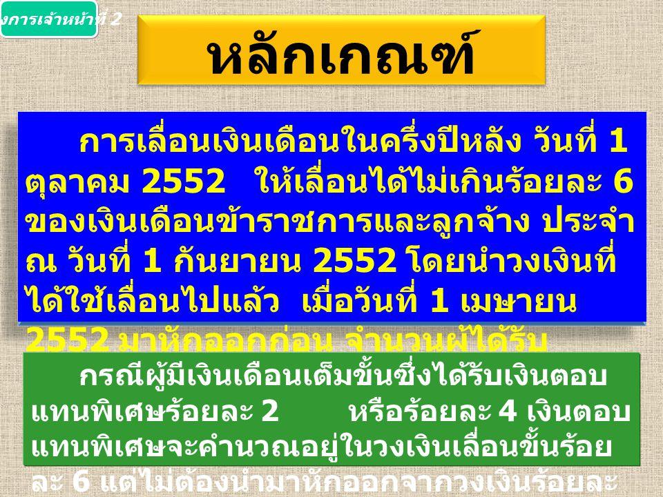 หลักเกณฑ์ การเลื่อนเงินเดือนในครึ่งปีหลัง วันที่ 1 ตุลาคม 2552 ให้เลื่อนได้ไม่เกินร้อยละ 6 ของเงินเดือนข้าราชการและลูกจ้าง ประจำ ณ วันที่ 1 กันยายน 2552 โดยนำวงเงินที่ ได้ใช้เลื่อนไปแล้ว เมื่อวันที่ 1 เมษายน 2552 มาหักออกก่อน จำนวนผู้ได้รับ การเลื่อน 2 ขั้นรวมทั้งปี ต้องไม่เกินร้อยละ 15 กรณีผู้มีเงินเดือนเต็มขั้นซึ่งได้รับเงินตอบ แทนพิเศษร้อยละ 2 หรือร้อยละ 4 เงินตอบ แทนพิเศษจะคำนวณอยู่ในวงเงินเลื่อนขั้นร้อย ละ 6 แต่ไม่ต้องนำมาหักออกจากวงเงินร้อยละ 6 กองการเจ้าหน้าที่ 2