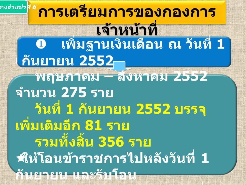  บรรจุข้าราชการใหม่ ดำเนินการ ตั้งแต่เดือน พฤษภาคม – สิงหาคม 2552 จำนวน 275 ราย วันที่ 1 กันยายน 2552 บรรจุ เพิ่มเติมอีก 81 ราย รวมทั้งสิ้น 356 ราย  ให้โอนข้าราชการไปหลังวันที่ 1 กันยายน และรับโอน ข้าราชการมาจากหน่วยงานอื่น ก่อนวันที่ 1 กันยายน การเตรียมการของกองการ เจ้าหน้าที่  เพิ่มฐานเงินเดือน ณ วันที่ 1 กันยายน 2552 กองการเจ้าหน้าที่ 6