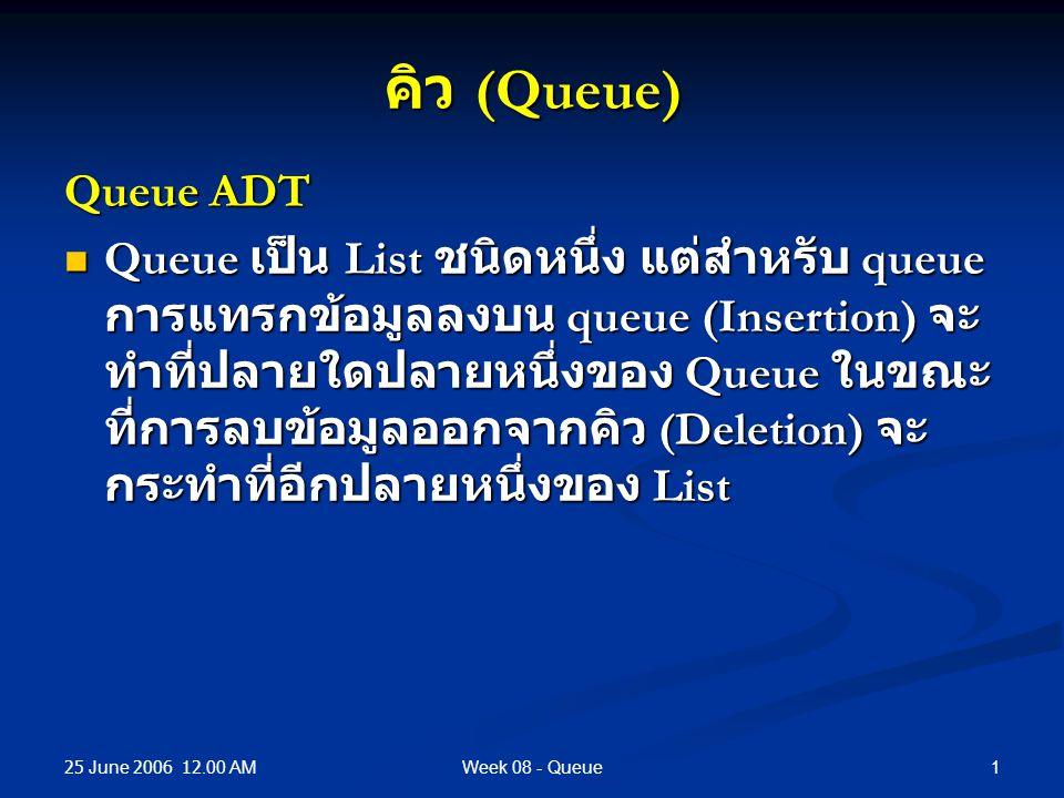 25 June 2006 12.00 AM 1Week 08 - Queue คิว (Queue) Queue ADT Queue เป็น List ชนิดหนึ่ง แต่สำหรับ queue การแทรกข้อมูลลงบน queue (Insertion) จะ ทำที่ปลายใดปลายหนึ่งของ Queue ในขณะ ที่การลบข้อมูลออกจากคิว (Deletion) จะ กระทำที่อีกปลายหนึ่งของ List Queue เป็น List ชนิดหนึ่ง แต่สำหรับ queue การแทรกข้อมูลลงบน queue (Insertion) จะ ทำที่ปลายใดปลายหนึ่งของ Queue ในขณะ ที่การลบข้อมูลออกจากคิว (Deletion) จะ กระทำที่อีกปลายหนึ่งของ List