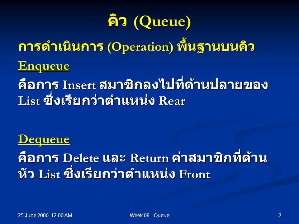 25 June 2006 12.00 AM 2Week 08 - Queue คิว (Queue) การดำเนินการ (Operation) พื้นฐานบนคิว Enqueue คือการ Insert สมาชิกลงไปที่ด้านปลายของ List ซึ่งเรียกว่าตำแหน่ง Rear Dequeue คือการ Delete และ Return ค่าสมาชิกที่ด้าน หัว List ซึ่งเรียกว่าตำแหน่ง Front