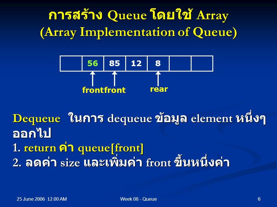 25 June 2006 12.00 AM 6Week 08 - Queue การสร้าง Queue โดยใช้ Array (Array Implementation of Queue) Dequeue ในการ dequeue ข้อมูล element หนึ่งๆ ออกไป 1.