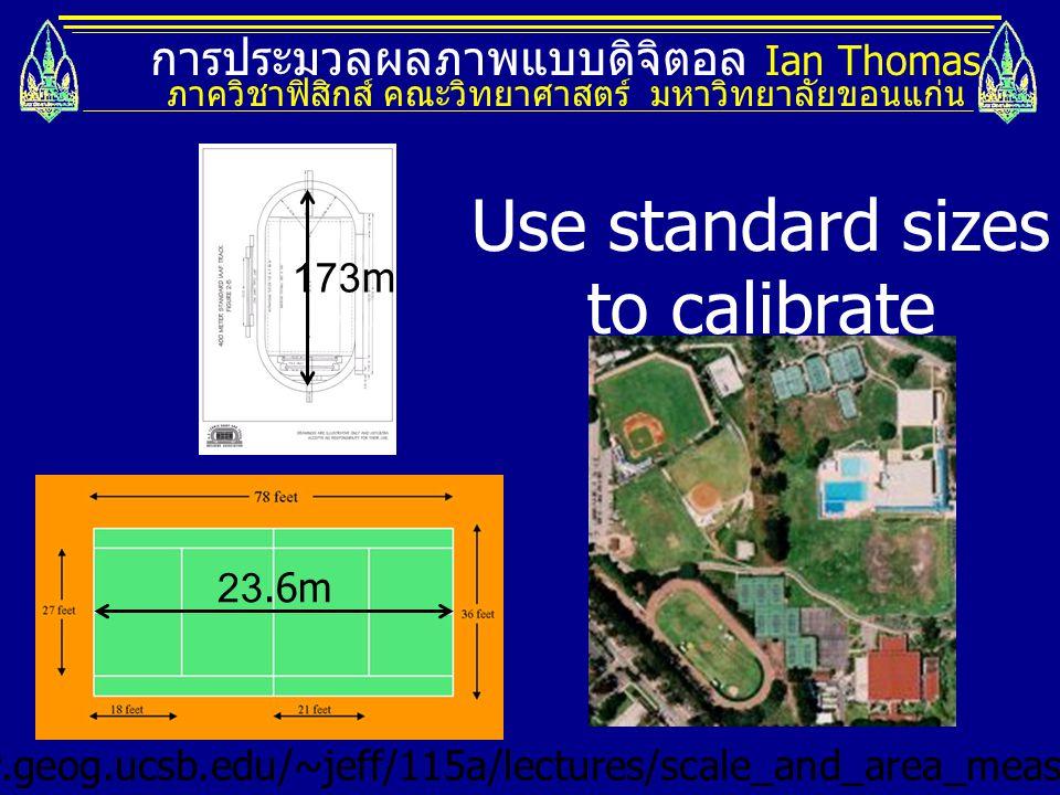 การประมวลผลภาพแบบดิจิตอล Ian Thomas ภาควิชาฟิสิกส์ คณะวิทยาศาสตร์ มหาวิทยาลัยขอนแก่น Use standard sizes to calibrate http://www.geog.ucsb.edu/~jeff/11