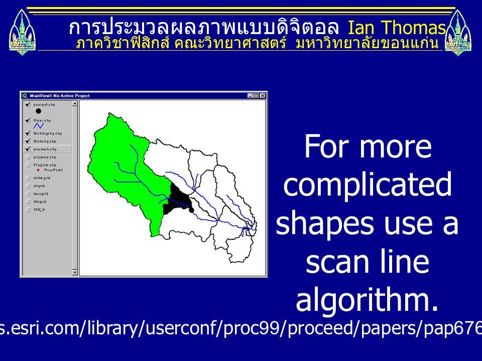 การประมวลผลภาพแบบดิจิตอล Ian Thomas ภาควิชาฟิสิกส์ คณะวิทยาศาสตร์ มหาวิทยาลัยขอนแก่น For more complicated shapes use a scan line algorithm. http://gis