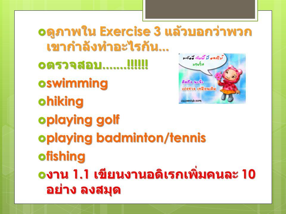  ดูภาพใน Exercise 3 แล้วบอกว่าพวก เขากำลังทำอะไรกัน...  ตรวจสอบ.......!!!!!!  swimming  hiking  playing golf  playing badminton/tennis  fishing