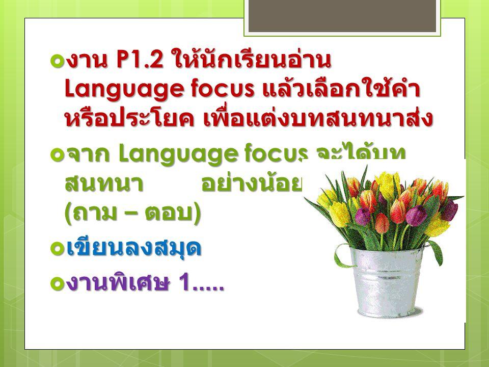  งาน P1.2 ให้นักเรียนอ่าน Language focus แล้วเลือกใช้คำ หรือประโยค เพื่อแต่งบทสนทนาส่ง  จาก Language focus จะได้บท สนทนา อย่างน้อย 9 ประโยค ( ถาม – ตอบ )  เขียนลงสมุด  งานพิเศษ 1.....