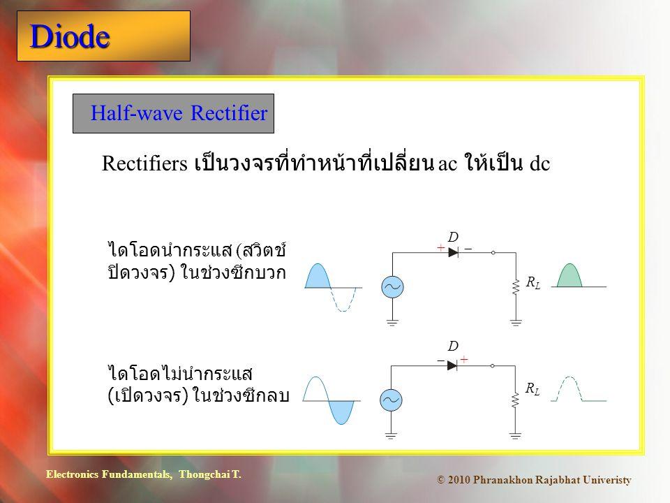 Electronics Fundamentals, Thongchai T. Diode © 2010 Phranakhon Rajabhat Univeristy Half-wave Rectifier Rectifiers เป็นวงจรที่ทำหน้าที่เปลี่ยน ac ให้เป