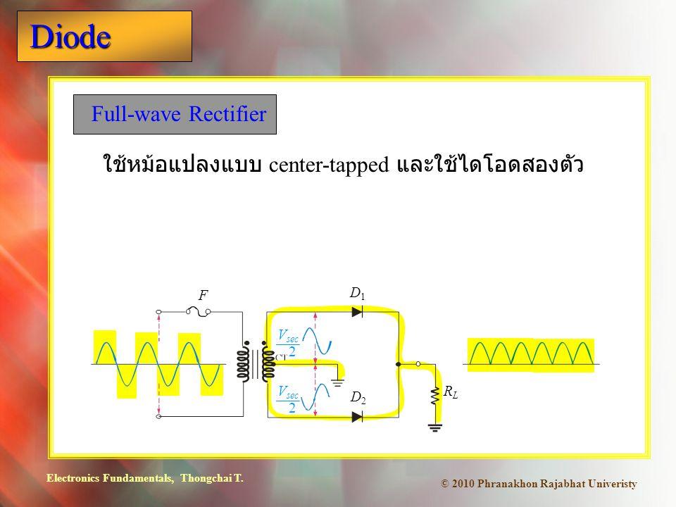 Electronics Fundamentals, Thongchai T. Diode © 2010 Phranakhon Rajabhat Univeristy Full-wave Rectifier ใช้หม้อแปลงแบบ center-tapped และใช้ไดโอดสองตัว
