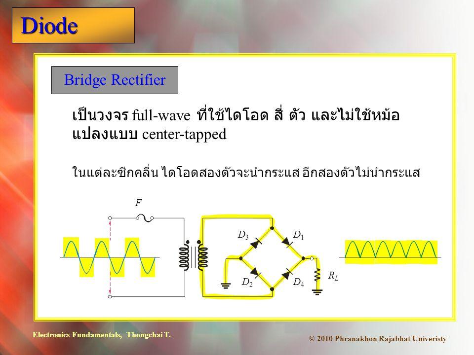 Electronics Fundamentals, Thongchai T. Diode © 2010 Phranakhon Rajabhat Univeristy Bridge Rectifier เป็นวงจร full-wave ที่ใช้ไดโอด สี่ ตัว และไม่ใช้หม