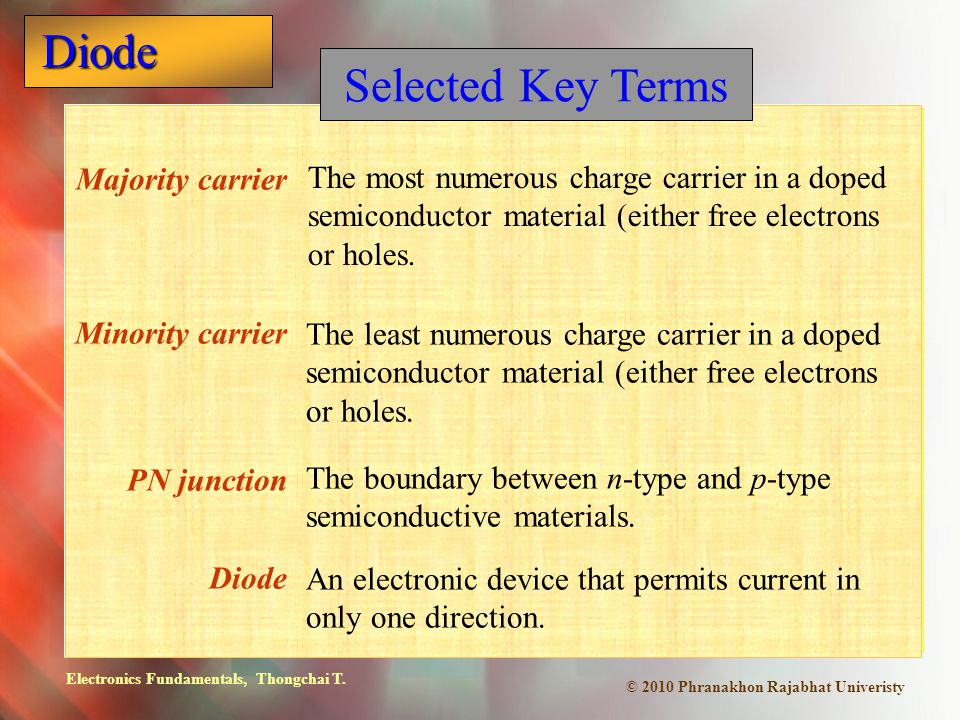 Electronics Fundamentals, Thongchai T. Diode © 2010 Phranakhon Rajabhat Univeristy Majority carrier Minority carrier PN junction Diode The most numero