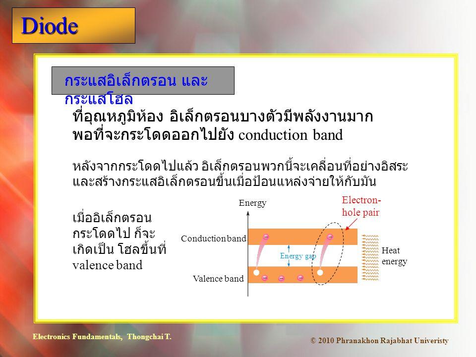 Electronics Fundamentals, Thongchai T. Diode © 2010 Phranakhon Rajabhat Univeristy กระแสอิเล็กตรอน และ กระแสโฮล ที่อุณหภูมิห้อง อิเล็กตรอนบางตัวมีพลัง