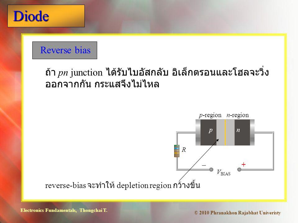 Electronics Fundamentals, Thongchai T. Diode © 2010 Phranakhon Rajabhat Univeristy Reverse bias ถ้า pn junction ได้รับไบอัสกลับ อิเล็กตรอนและโฮลจะวิ่ง