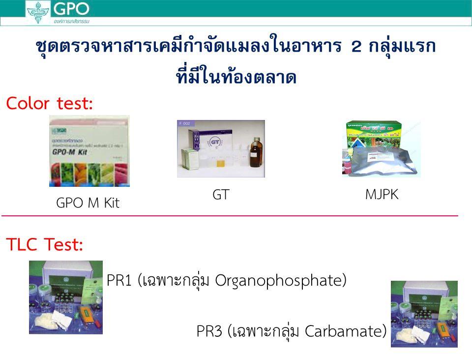 ชุดตรวจหาสารเคมีกำจัดแมลงในอาหาร 2 กลุ่มแรก ที่มีในท้องตลาด PR3 (เฉพาะกลุ่ม Carbamate) Color test: TLC Test: GPO M Kit GT MJPK PR1 (เฉพาะกลุ่ม Organophosphate)