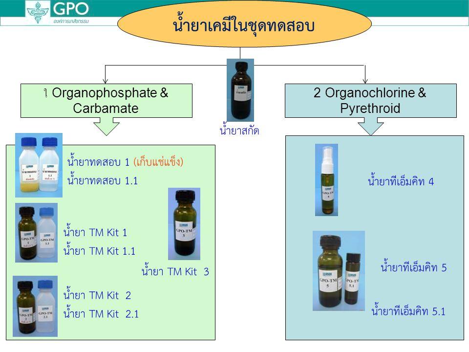 น้ำยาสกัด น้ำยาทดสอบ 1 (เก็บแช่แข็ง) น้ำยาทดสอบ 1.1 น้ำยา TM Kit 1 น้ำยา TM Kit 1.1 น้ำยา TM Kit 2 น้ำยา TM Kit 2.1 น้ำยา TM Kit 3 น้ำยาทีเอ็มคิท 4 น้ำยาทีเอ็มคิท 5 น้ำยาทีเอ็มคิท 5.1 ใ Organophosphate & Carbamate 2 Organochlorine & Pyrethroid น้ำยาเคมีในชุดทดสอบ