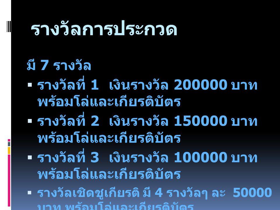 รางวัลการประกวด มี 7 รางวัล  รางวัลที่ 1 เงินรางวัล 200000 บาท พร้อมโล่และเกียรติบัตร  รางวัลที่ 2 เงินรางวัล 150000 บาท พร้อมโล่และเกียรติบัตร  รางวัลที่ 3 เงินรางวัล 100000 บาท พร้อมโล่และเกียรติบัตร  รางวัลเชิดชูเกียรติ มี 4 รางวัลๆ ละ 50000 บาท พร้อมโล่และเกียรติบัตร