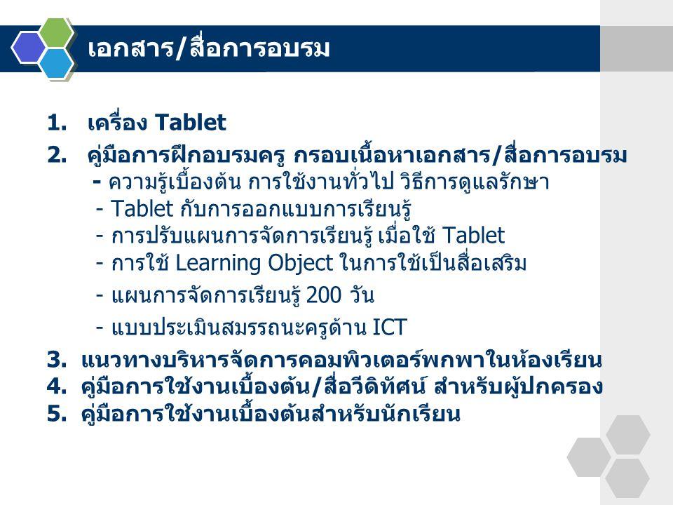 1. เครื่อง Tablet 2. คู่มือการฝึกอบรมครู กรอบเนื้อหาเอกสาร/สื่อการอบรม - ความรู้เบื้องต้น การใช้งานทั่วไป วิธีการดูแลรักษา - Tablet กับการออกแบบการเรี