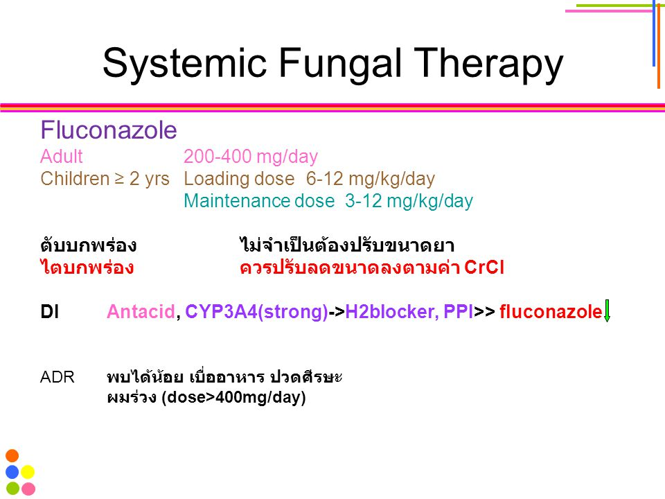 Systemic Fungal Therapy Fluconazole Adult 200-400 mg/day Children ≥ 2 yrs Loading dose6-12 mg/kg/day Maintenance dose 3-12 mg/kg/day ตับบกพร่องไม่จำเป