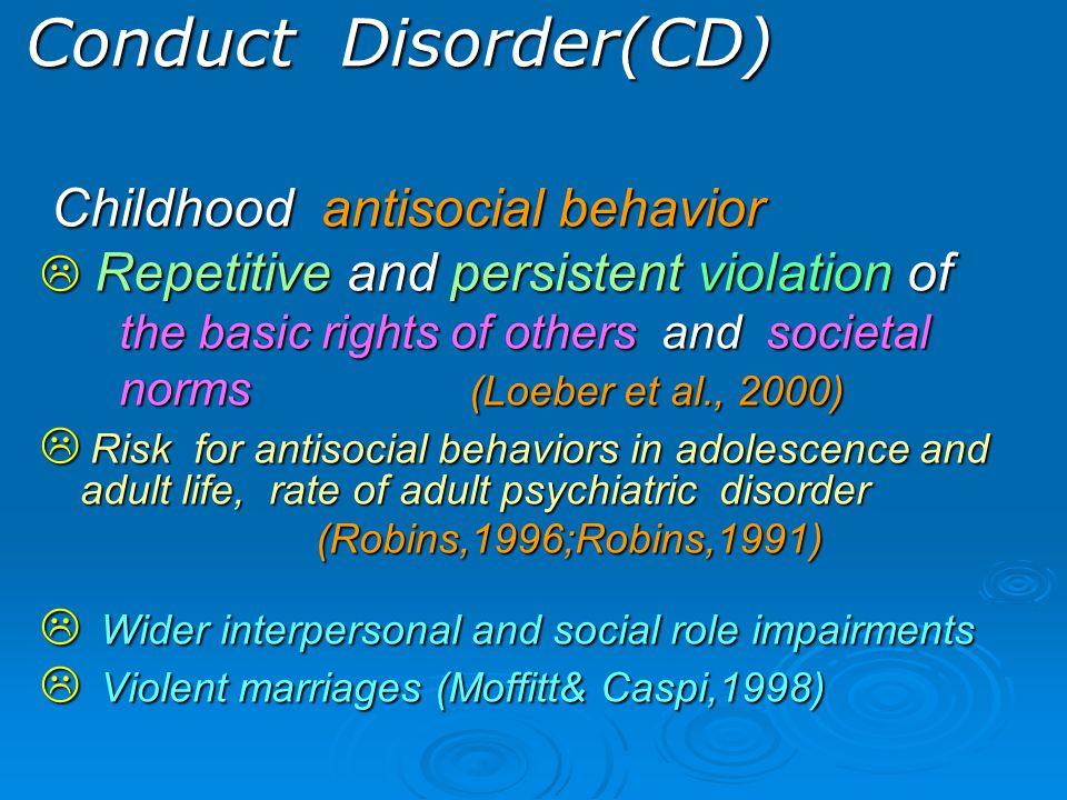 พ ฤ ติ ก ร ร ม เ ก เ ร พบบ่อย 50 - 80 % ของผู้ใช้สารเสพติด ในเด็กโต หรือ วัยรุ่นตอนต้น มีพฤติกรรมต่าง ๆ ได้แก่ พูดปดหนีเรียน หนีออกจากบ้านชกต่อย รังแกคนอื่นทำลายข้าวของ ข่มขู่ผู้อื่นฝ่าฝืนกฎระเบียบ รังแกสัตว์จุดไฟเผา  40% ของ พฤติกรรมเกเร กลายเป็น อันธพาลต่อต้านสังคม