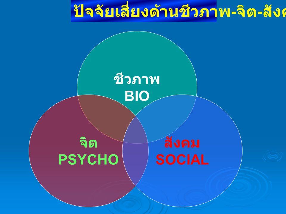 ชีวภาพ BIO จิต PSYCHO สังคม SOCIAL ปัจจัยเสี่ยงด้านชีวภาพ - จิต - สังคม