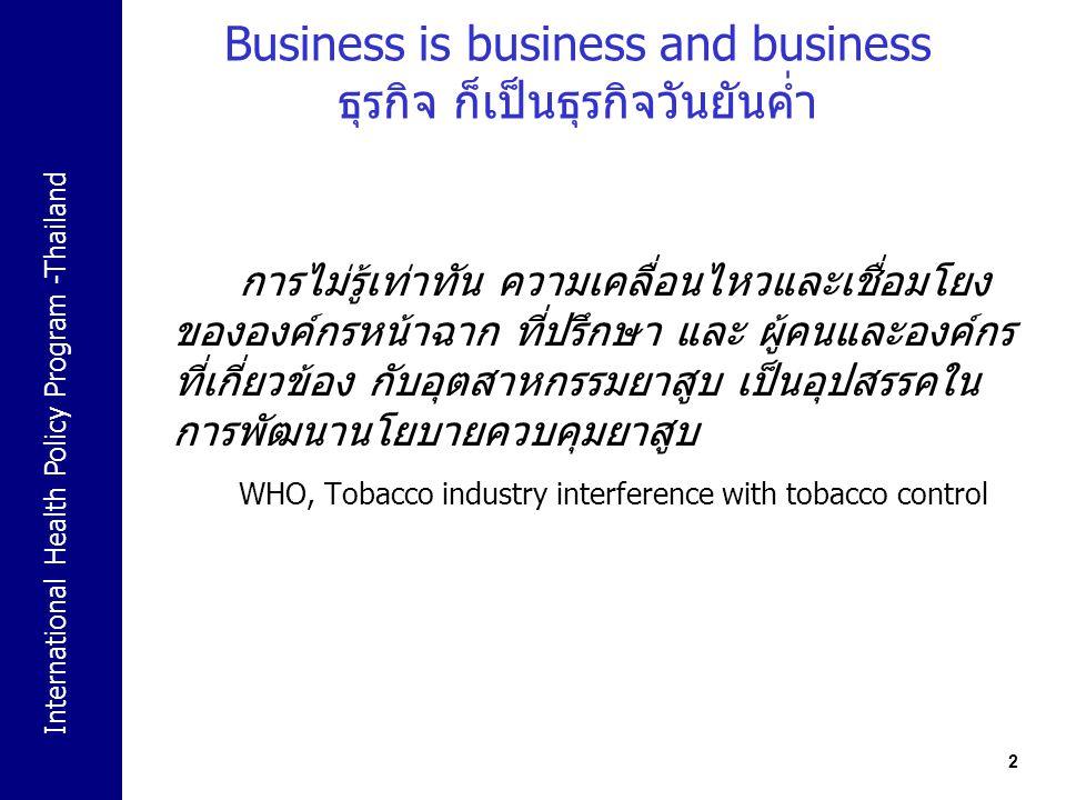 International Health Policy Program -Thailand 2 Business is business and business ธุรกิจ ก็เป็นธุรกิจวันยันค่ำ การไม่รู้เท่าทัน ความเคลื่อนไหวและเชื่อ