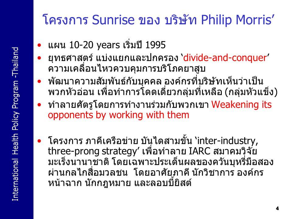 International Health Policy Program -Thailand 44 โครงการ Sunrise ของ บริษัท Philip Morris' แผน 10-20 years เริ่มปี 1995 ยุทธศาสตร์ แบ่งแยกและปกครอง 'd