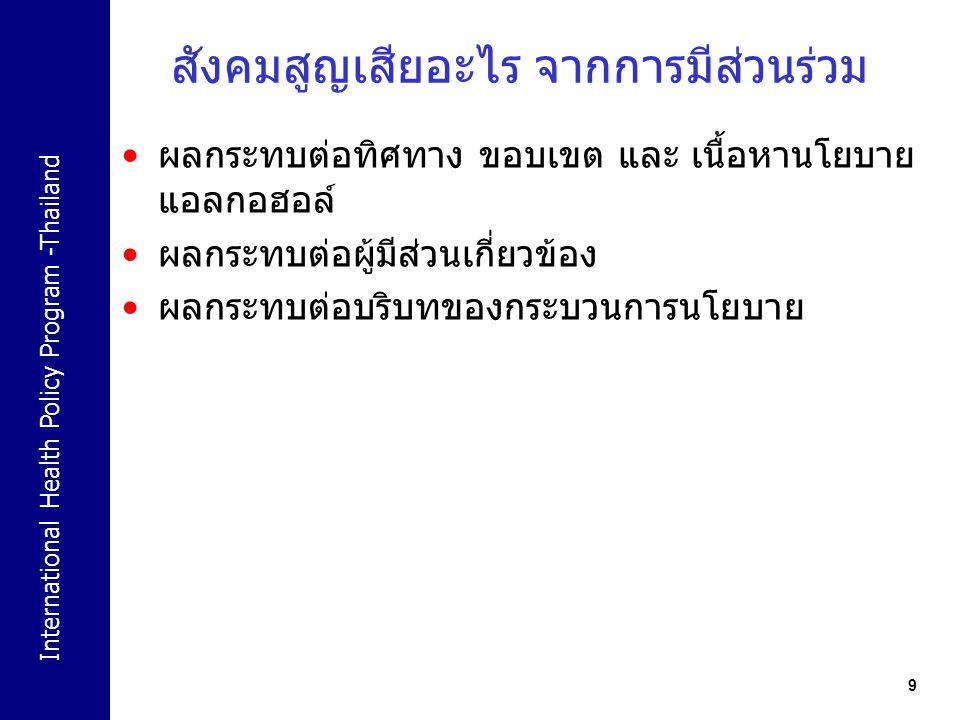 International Health Policy Program -Thailand 9 สังคมสูญเสียอะไร จากการมีส่วนร่วม ผลกระทบต่อทิศทาง ขอบเขต และ เนื้อหานโยบาย แอลกอฮอล์ ผลกระทบต่อผู้มีส