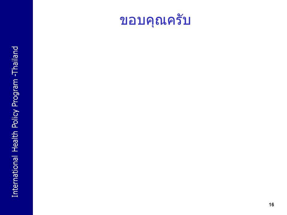 International Health Policy Program -Thailand 16 ขอบคุณครับ