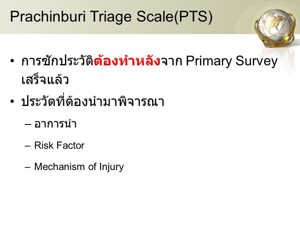 โจทย์ตัวอย่าง ผู้ชายอายุ 22 ปี มาด้วยเรื่องเจ็บไหล่ขวา หายใจเหนื่อย พูดได้เป็นคำๆ หายใจเร็ว RR =26 /min HR = 116 /min ซีด เหงื่อแตก ตัวเย็น ญาติให้ประวัติว่าตู้หนังสือล้มทับ 1.PTS level .