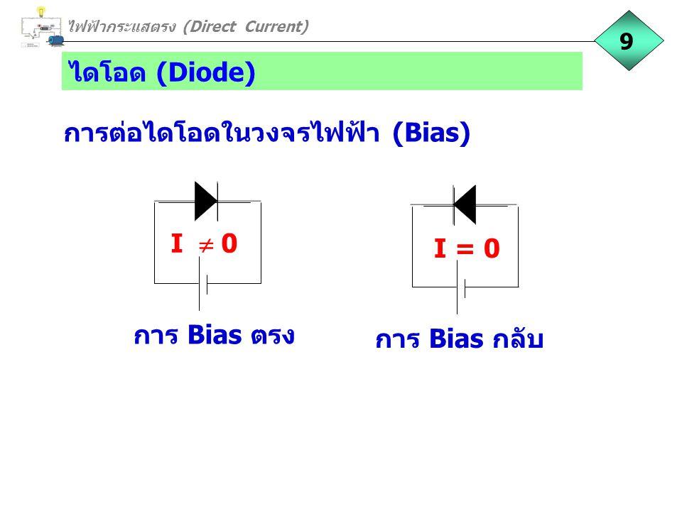 ไดโอด (Diode) การต่อไดโอดในวงจรไฟฟ้า (Bias) การ Bias กลับ I = 0 การ Bias ตรง I  0 ไฟฟ้ากระแสตรง (Direct Current) 9