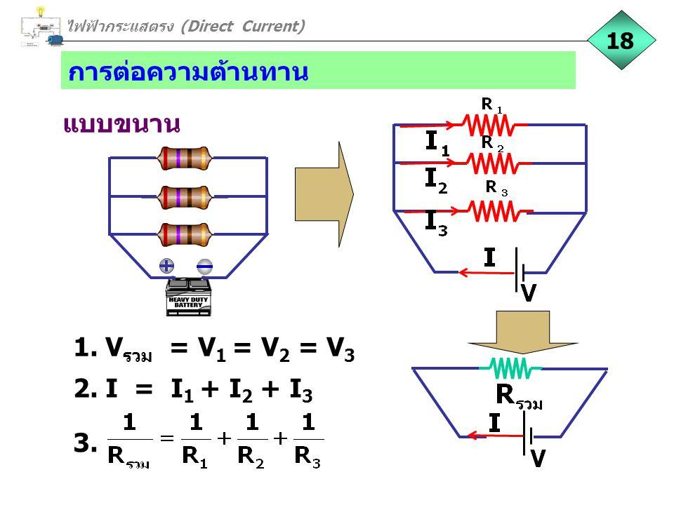 การต่อความต้านทาน แบบขนาน 18 2. I = I 1 + I 2 + I 3 1. V รวม = V 1 = V 2 = V 3 3. ไฟฟ้ากระแสตรง (Direct Current)