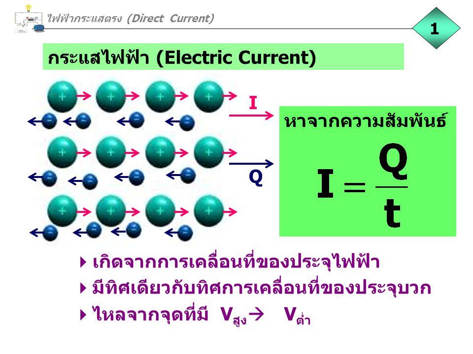 กระแสไฟฟ้า (Electric Current)  เกิดจากการเคลื่อนที่ของประจุไฟฟ้า  มีทิศเดียวกับทิศการเคลื่อนที่ของประจุบวก  ไหลจากจุดที่มี V สูง  V ต่ำ I Q หาจากค