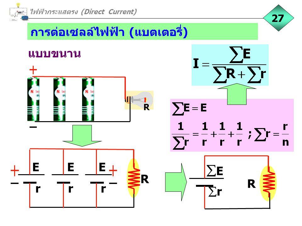 การต่อเซลล์ไฟฟ้า (แบตเตอรี่) แบบขนาน ไฟฟ้ากระแสตรง (Direct Current) 27 R R E E E r r r R EE rr