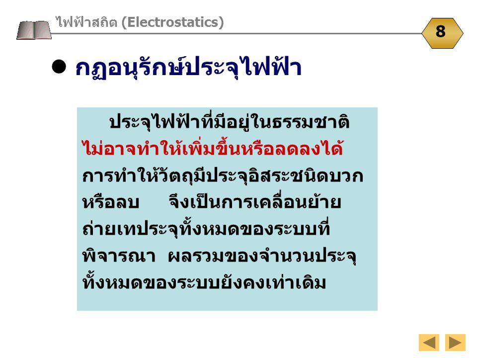กฏอนุรักษ์ประจุไฟฟ้า ไฟฟ้าสถิต (Electrostatics) 8 ประจุไฟฟ้าที่มีอยู่ในธรรมชาติ ไม่อาจทำให้เพิ่มขึ้นหรือลดลงได้ การทำให้วัตถุมีประจุอิสระชนิดบวก หรือล