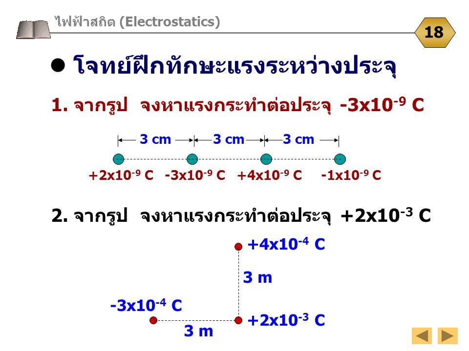 โจทย์ฝึกทักษะแรงระหว่างประจุ ไฟฟ้าสถิต (Electrostatics) 18 1. จากรูป จงหาแรงกระทำต่อประจุ -3x10 -9 C 3 cm 3 cm 3 cm 2. จากรูป จงหาแรงกระทำต่อประจุ +2x